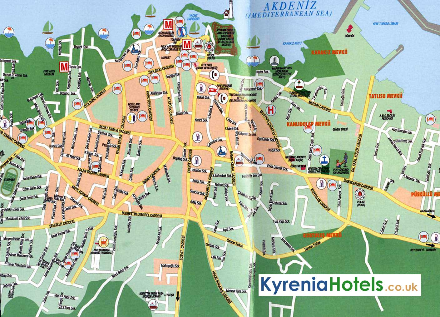 Kyrenia Cyprus Map Map Of Kyrenia Kyreniahotels Co Uk